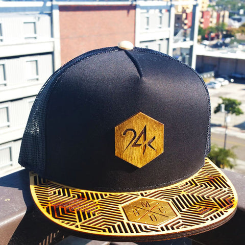 24k Gold Leaf Wood Brim Hat