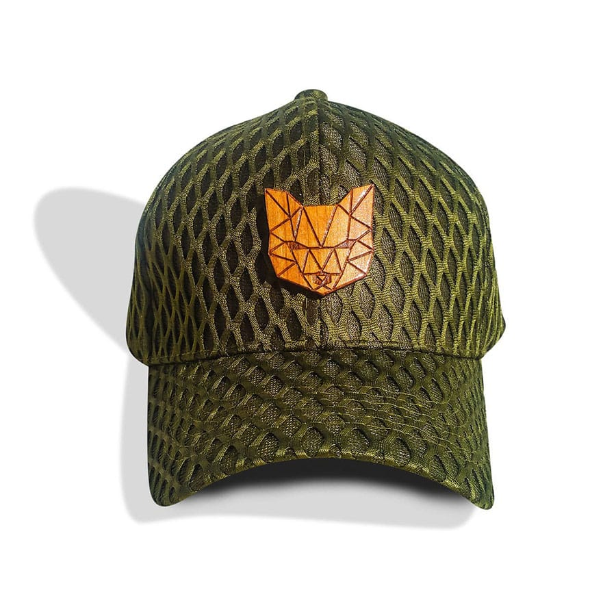 Dad Hat Custom Wood Fox Logo Olive Green Velcro Strap Cap