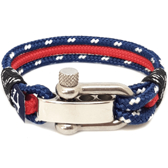 Adjustable Shackle Red and Blue Nautical Bracelet