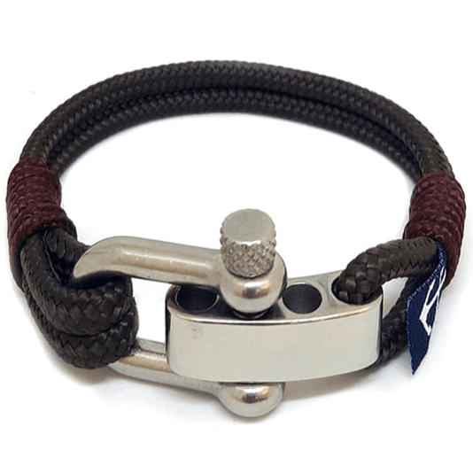 Adjustable Shackle Brown Nautical Bracelet
