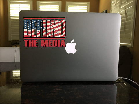 39-16 DEFUND the Media USA Patriotic Logo vinyl sticker decal