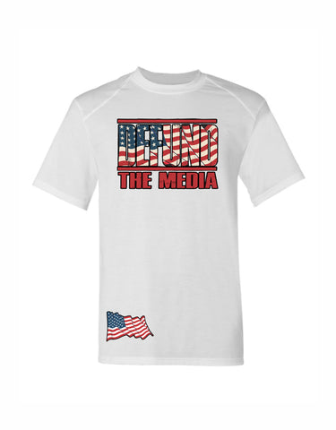 39-16T DEFUND the Media USA Patriotic America First Sublimated performance Tee Shirt