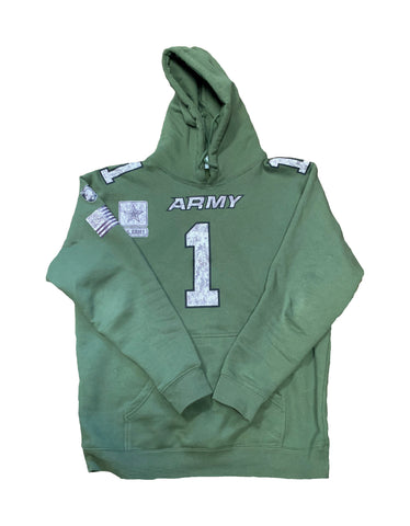 US Army Olive Football Jersey Hoody Camouflage #1 Duty. Honor. Country.