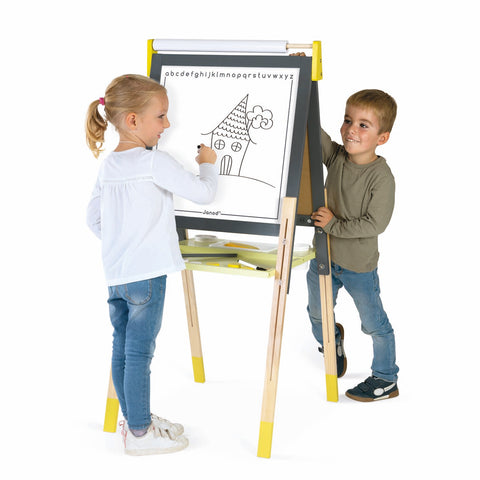 Janod Easel with Magnetic Whiteboard / Blackboard