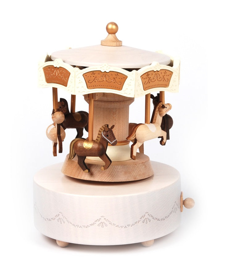 Wooden Music Box Horse Carousel