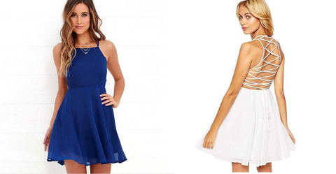 July Fourth Party Dress Criss Cross Blue Dress