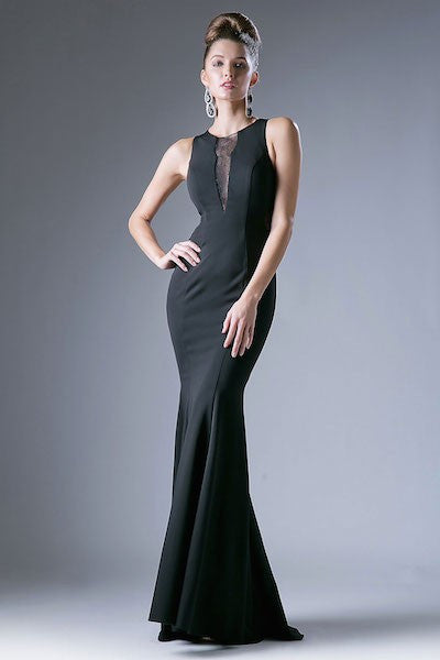 Chic Evening Dress with Lace Illusion Cutouts
