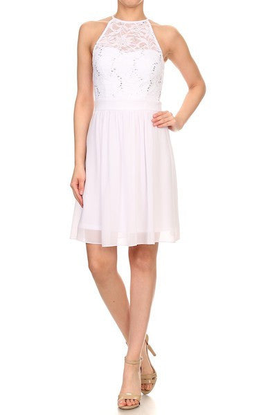 White Lace A-Line Cocktail Dress