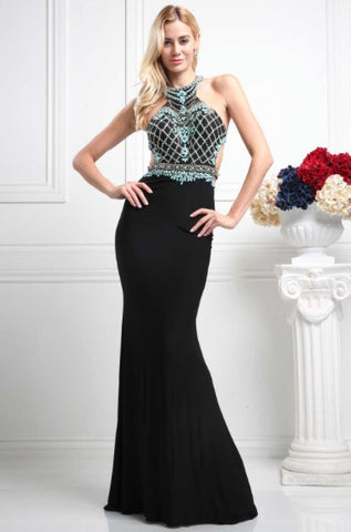 Long Black Evening Dress with Open Back