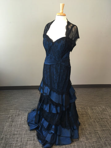 Vintage Inspired Navy and Black Dress