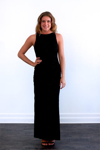 Glamorous long black dress with beaded detail, Alexia Admore
