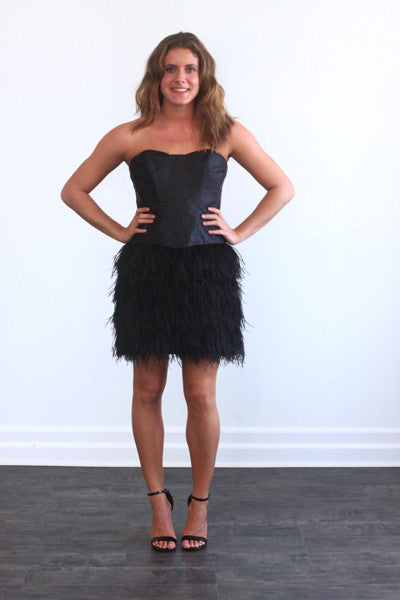 Betsey Johnson Leather & Feather Black Dress | Girl's Night Out Party Dress | Feather Cocktail Dress