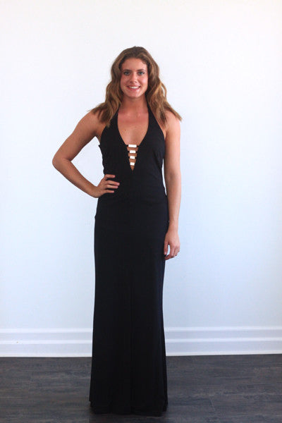 Morgan & Co black halter gown, beaded detail