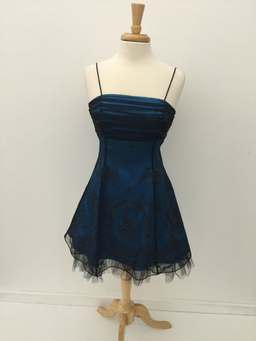 Blue and Black Morgan and Co Homecoming Dress