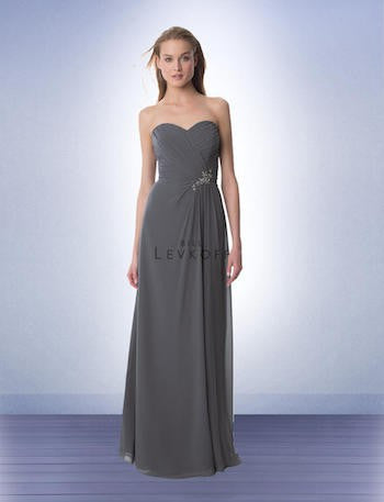 Bill Levkoff Long Chiffon Dress with Beading Detail at Waist