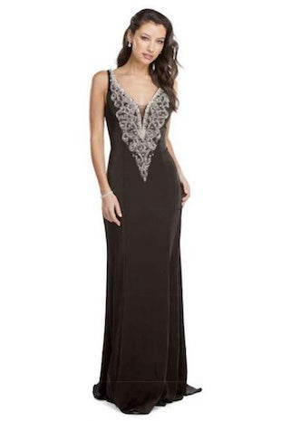 Deep V Neck Evening Gown with Lowcut Back