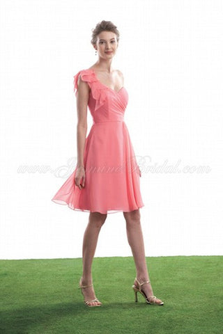 Coral One Shoulder Chiffon Summer Dress