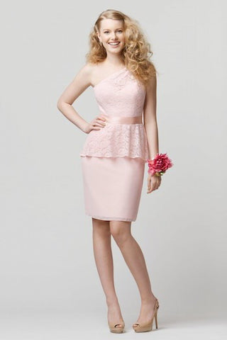 Wtoo Light Pink One Shoulder Lace Overlay Dress