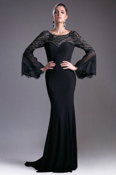 Dramatic Evening Gown with Flowing Sleeves