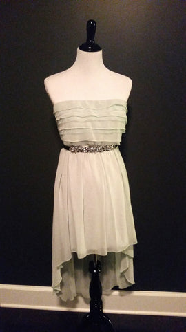 Mint Green Chiffon Dress with Rhinestone Belt