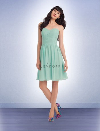 Bill Levkoff Mint Strapless Pleated Top Dress