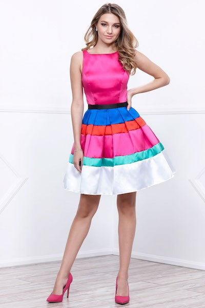 Striped Color Block Cockatil Party Dress
