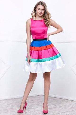 Striped Color Block Cocktail Party Dress