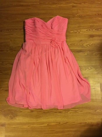After Six Hot Pink Strapples Pleated Dress