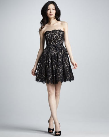 Black and Tan Lace Party Dress (Fit & Flare)