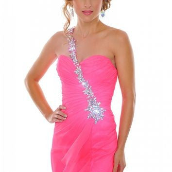 Hot Pink One Shoulder Jeweled Prom/Pageant Dress
