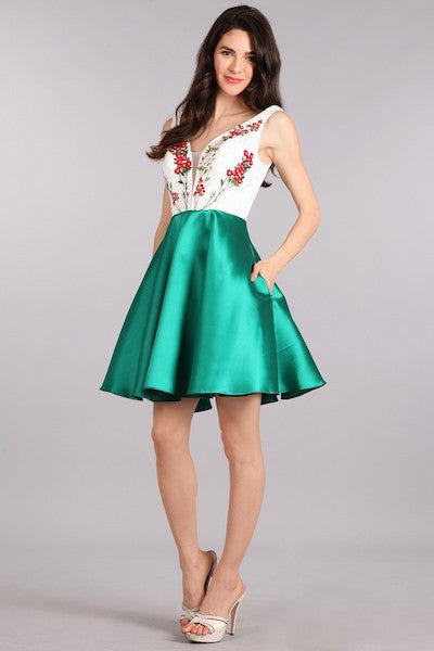 Floral Embroidered Party Dress with Green Skirt