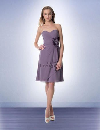 Bill Levkoff Victorian Lilac Short Dress with Flower Detail