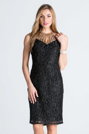Black Lace Dress with Gold Rhinestone Collar