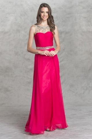 Illusion Beaded Chiffon Dress in Bright Pink