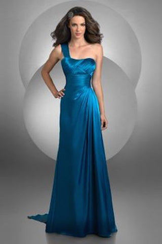 Gorgeous Peacock Teal Bari Jay Long One Shoulder Dress