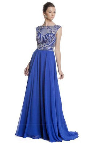 Sleeveless Royal Blue Formal Gown