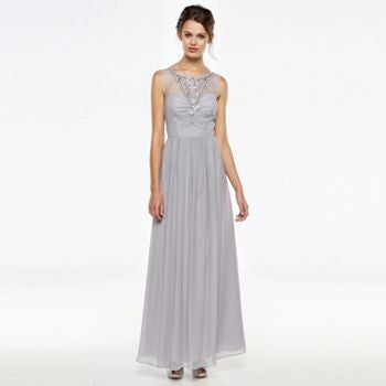 Gorgeous Grey-Lavender Rhinestone Dress