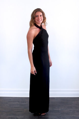 Lauren by Ralph Lauren Black Criss Cross Halter Long Dress