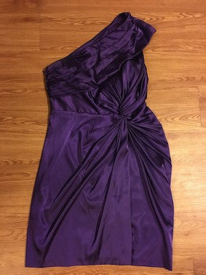 Purple One Shoulder Twist Cocktail Dress