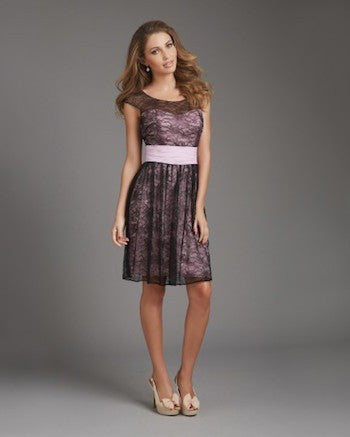 Pink/ Black Lace Overlay Dress with Back Cutout