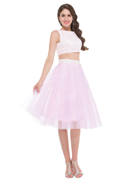 blush pink two piece gown homecoming prom lace tulle crop top skirt