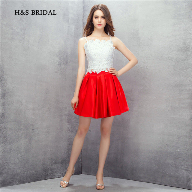 2b9c09162783 red and white homecoming dress | prom dress | short dress | lace bodice |  above ...
