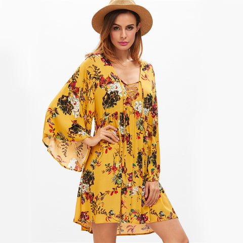 Yellow Floral Fall Dress | Autumn Breeze Dress | Floral Dress for Boots | Yellow