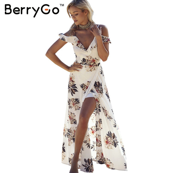 Loose Floral Maxi Dress with High Split