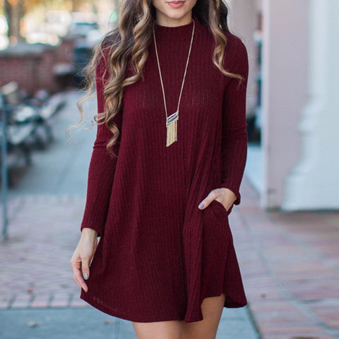 Long Sleeve Fall Sweater Dress | Cotton Sweater Dress | Red | Dark Red