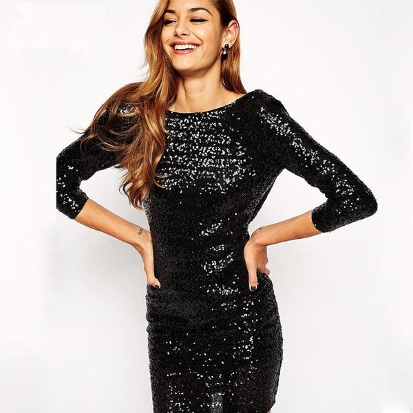 black sequin mini dress | black homecoming dress | low cut back | high neckline | micro mini dress