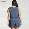 solid black romper | lace up blue romper | denim romper | white romper | lace front shorts romper