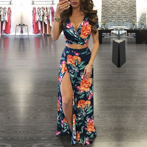 bright big floral patterned 2 piece set | crop top maxi skirt | navy blue floral | pink orange floral | two piece set