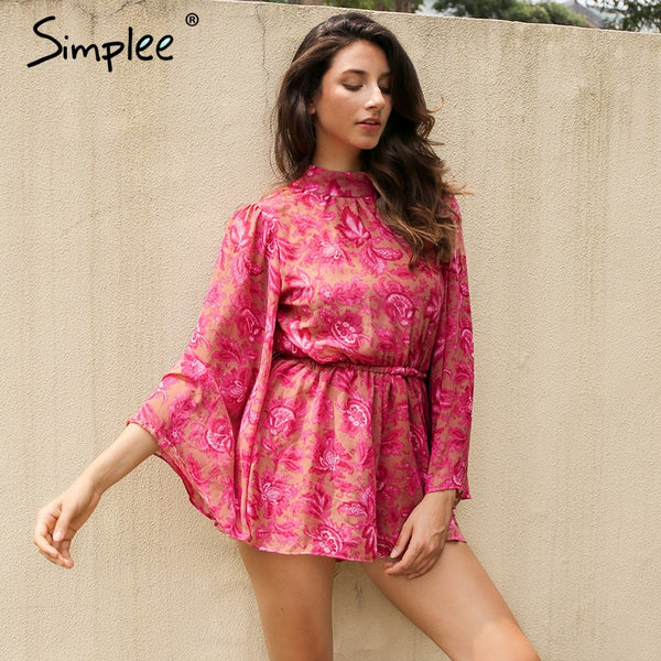 Embroidered Bell Sleeve Romper in Pink