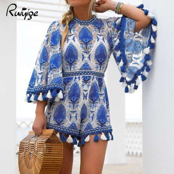 blue and white patterned romper | blue white ikat | tassel romper | short jumper